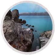 Round Beach Towel featuring the photograph Blue, Green, Gray by Davor Zerjav