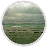 Round Beach Towel featuring the photograph Blue Green Grey by Anne Kotan