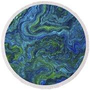 Blue Green Texture Round Beach Towel