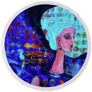 Blue Haired Girl On Windy Day Round Beach Towel