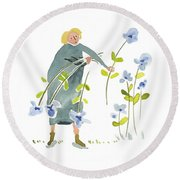Blue Harvest Round Beach Towel by Leanne WILKES