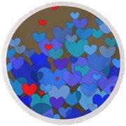 Blue Hearts Round Beach Towel