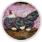 Blue Hen With Chicks Fresco Black Background Round Beach Towel