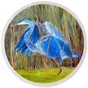 Blue Heron In Viera  Florida Round Beach Towel