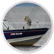 Blue Heron Boat Ride Round Beach Towel