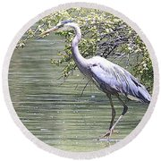 Blue Heron Round Beach Towel by Clarice  Lakota