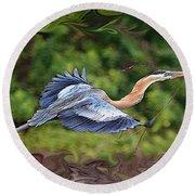 Round Beach Towel featuring the photograph Blue Heron Flight by Shari Jardina