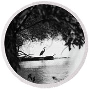 Blue Heron In Black And White. Round Beach Towel