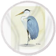 Blue Heron In Oil Round Beach Towel