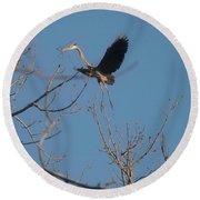 Round Beach Towel featuring the photograph Blue Heron Landing by David Bearden