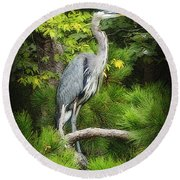Blue Heron Round Beach Towel by Lydia Holly