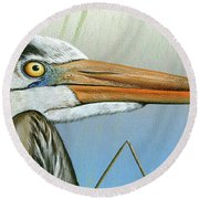 Round Beach Towel featuring the painting Blue Heron  by Mike Brown