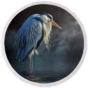 Blue Heron Moon Round Beach Towel