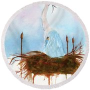 Blue Heron Nesting Round Beach Towel