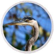 Blue Heron Profile Round Beach Towel