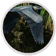 Round Beach Towel featuring the photograph Blue Heron Series The Pond by Deborah Benoit