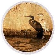 Blue Heron Shadow Round Beach Towel