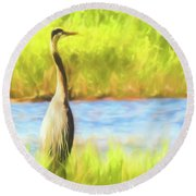 Blue Heron Standing Tall And Alert Round Beach Towel