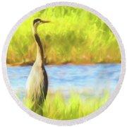 Blue Heron Standing Tall And Alert Round Beach Towel