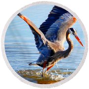 Round Beach Towel featuring the photograph Blue Heron by Sumoflam Photography