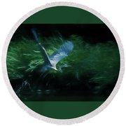 Blue Heron Take Off Round Beach Towel