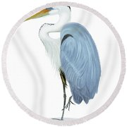 Round Beach Towel featuring the painting Blue Heron With No Background by Anne Beverley-Stamps