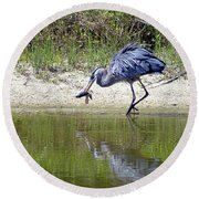 Blue Heron's Lucky Day Round Beach Towel