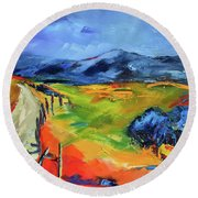 Round Beach Towel featuring the painting Blue Hills By Elise Palmigiani by Elise Palmigiani