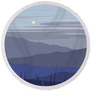 Blue Hills Vertical Round Beach Towel by Val Arie