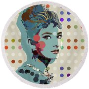 Blue Holly - Audrey Hepburn Spot Painting Round Beach Towel by Big Fat Arts