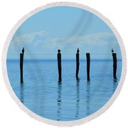 Round Beach Towel featuring the photograph Blue Horizon by Stephen Mitchell