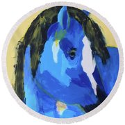 Round Beach Towel featuring the painting Blue Horse 2 by Donald J Ryker III