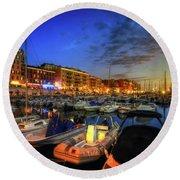 Blue Hour At Port Nice 1.0 Round Beach Towel by Yhun Suarez