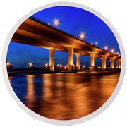 Round Beach Towel featuring the photograph Blue Hour At Roosevelt Bridge In Stuart Florida  by Justin Kelefas