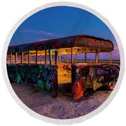 Blue Hour Bus Round Beach Towel