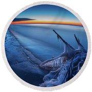 Blue Hour Fisheye Round Beach Towel