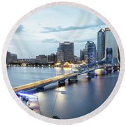 Blue Hour In Jacksonville Round Beach Towel
