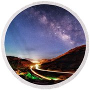 Blue Hour Milky Way Over Moab Round Beach Towel