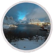 Blue Hour Over Reine Round Beach Towel by Dubi Roman