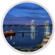 Blue Hour Over The Hudson Round Beach Towel by Jeffrey Friedkin