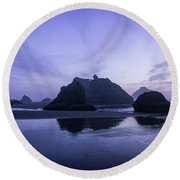 Blue Hour Reflections Round Beach Towel