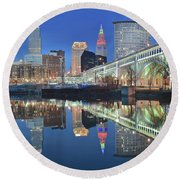 Round Beach Towel featuring the photograph Blue Hour Square by Frozen in Time Fine Art Photography