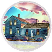 Round Beach Towel featuring the photograph Blue House by Jim and Emily Bush