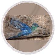 Blue Hummingbird Round Beach Towel by Ann Michelle Swadener