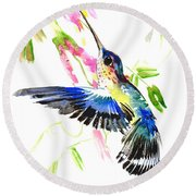 Blue Hummingbird Round Beach Towel by Suren Nersisyan