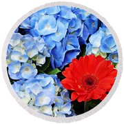 Blue Hydrangea And Red Gerbers Round Beach Towel