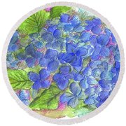 Round Beach Towel featuring the painting Blue Hydrangea by Cathie Richardson