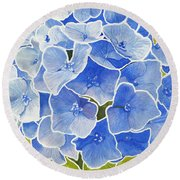 Blue Hydrangea Stained Glass Look Round Beach Towel
