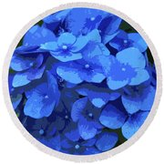Blue Hydrangea Stylized Round Beach Towel