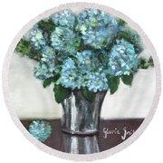 Blue Hydrangea's In Silver Vase Round Beach Towel